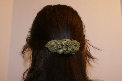 Custom Made Barrette, Hand Sculpted Olive Green Polymer, Black Detail