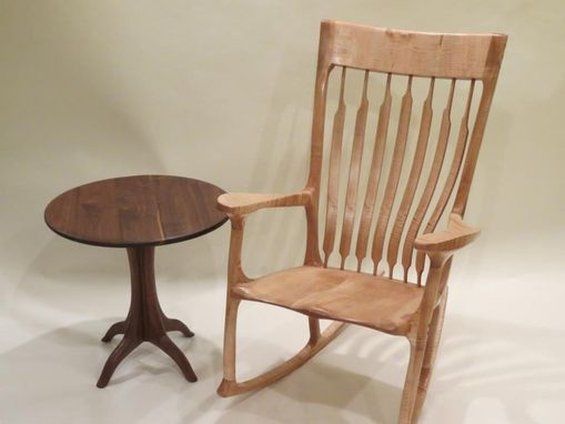 Custom Made Tiger Maple Rocking Chair And Side Table