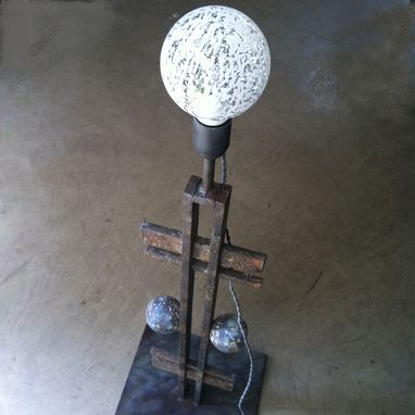 Custom Made Wrought Iron Floor Lamp With Led Bulb - Industrial Look