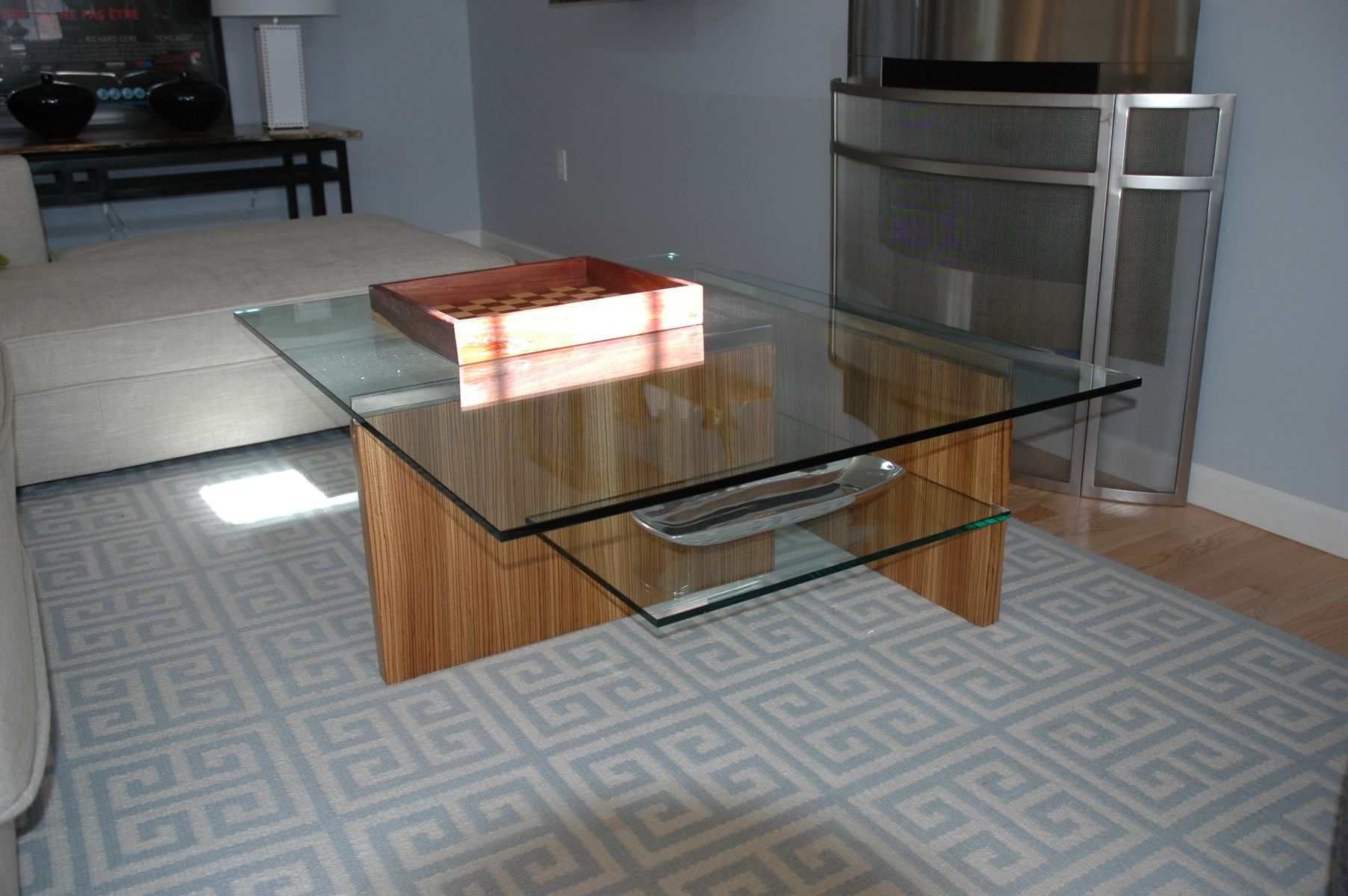 Custom Made Zebrawood, Chrome And Glass Coffee Table