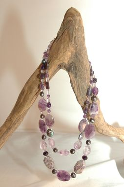 Custom Made Amethyst, Charoite Double Strand Necklace And Bracelet