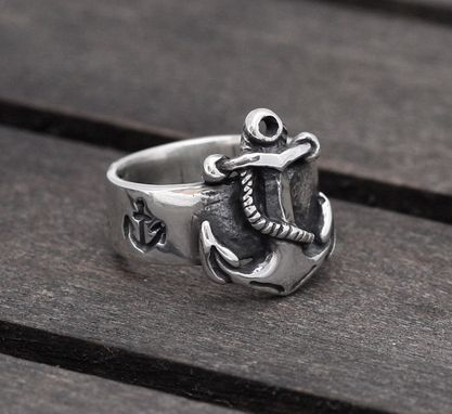 Custom Made First Mate Nautical Anchor Sterling Silver, Wedding, Engagement Ring