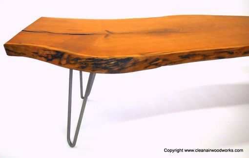 Custom Made Cherry Live Edge Wood Slab Bench With Hairpin Legs