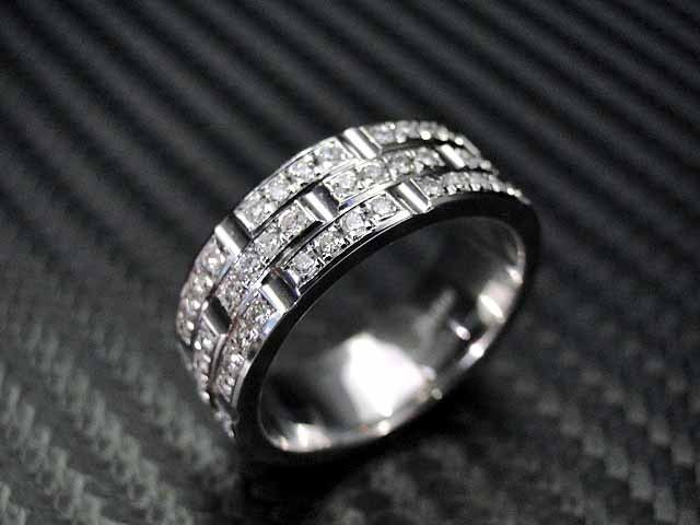 Hand Crafted 14k White Gold Mens Diamond Wedding Band Engagement