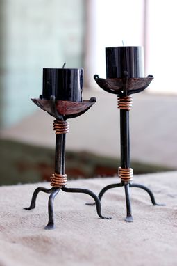 Custom Made Hand Wrought Steel And Copper Candlesticks