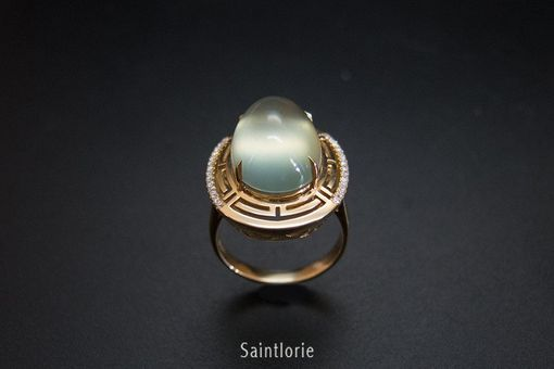 Custom Made 5.2 Carat Prehnite Engagement Ring