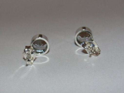 Custom Made Sterling Silver Faceted Aquamarine Bezel Set Earrings Birthstone March