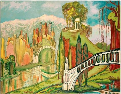 Custom Made Painting Of Lagoons Bridges And City Of Tomorrow