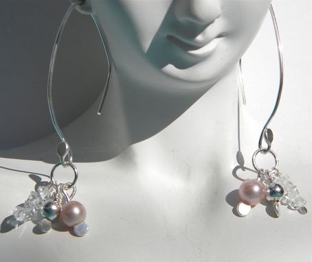 Custom Made Akoya Pink Pearls With Herkimer Diamonds On Argentium Silver Earrings