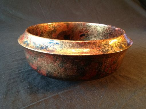 Custom Made Nine Inch Maple Bowl With Gold Toned Hand Applied Colors