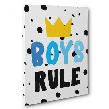 Custom Made Boys Rule Canvas Wall Art