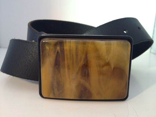 Custom Made Amber Fused Glass Belt Buckle