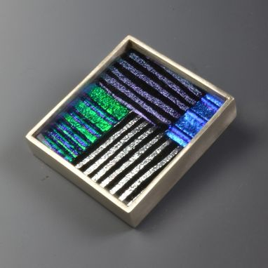 Custom Made Sterling Silver And Dichroic Glass Brooch