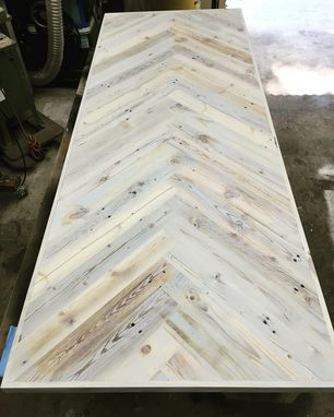 Custom Made Choose Your Size - Herringbone Dining Kitchen Table - Custom Stain Color - Choose Your Options