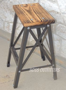 Custom Made Counter Height Bar Stool, Industrial Bar Stool, Metal And Wood Bar Stool