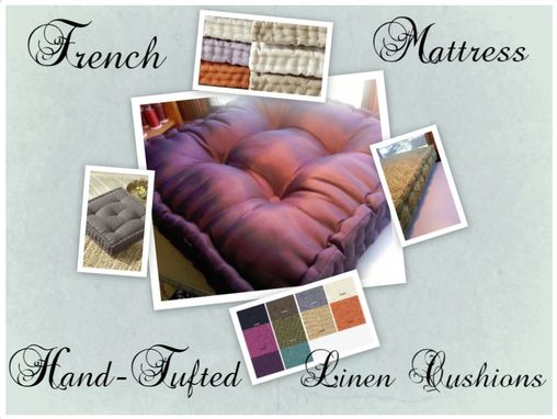 Custom Made French Tufted Seat Cushions, Great For Floor, Chairs, Outdoor, Picnics, Kids Or Adults