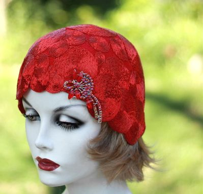 Custom Made 20'S Theme Party Cloche Hat In Red