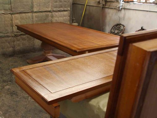 Custom Made Custom Mahogany Wood Trestle Dining Table With 2 Leaves