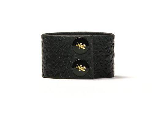 Custom Made Leather Cuff - Black Latigo - Embossed With Thorns - Ebony & Brass Fasteners - 1.5 Inches Wide