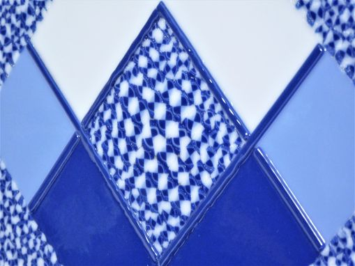 "Custom Made A Fused Glass Art Object ""Blue Chess"""