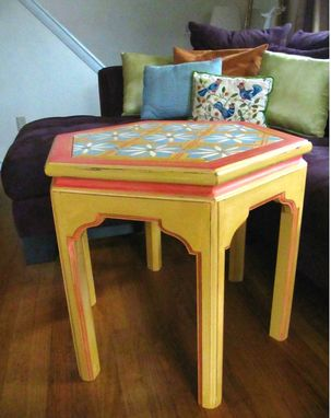 Custom Made Moroccan Inspired Hand Painted Hexagon End Table