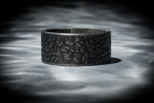 Custom Made Leather Cuff - Black Latigo - Embossed With Thorns - Nickel Fasteners - 1 Inch Wide