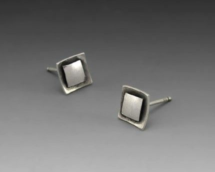 Custom Made Square Cushion Silver Stud Earrings