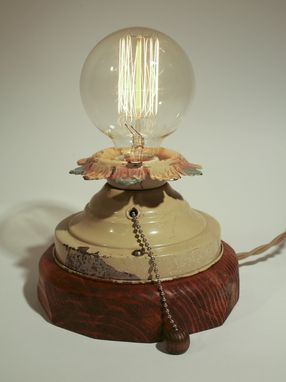 Custom Made Edison Bulb Lamp With Antique Metal Base