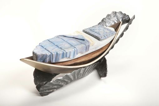 Custom Made Hand Carved Boat With Bed Sculpture
