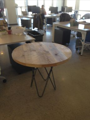 Custom Made Intertwined Hair Pin Tables With Reclaimed Wood Tops