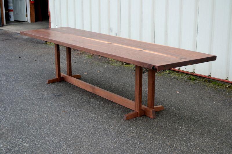 Custom Made Walnut Dining Table With Nakashima Style Base