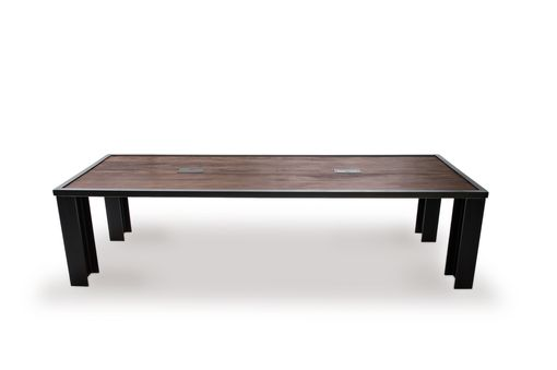 Custom Made Reclaimed Wood And Steel Conference Table With I-Beam Base