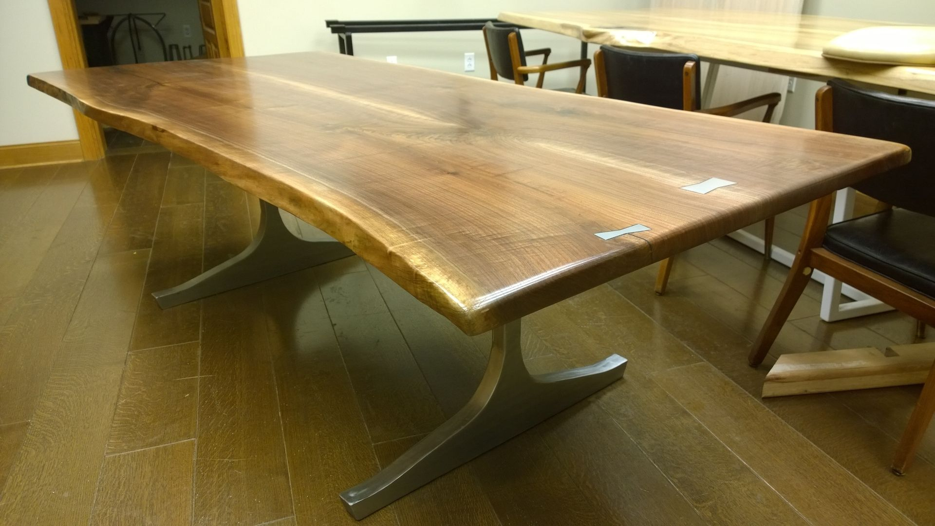 furniture office desks custom live edge table with brass or steel