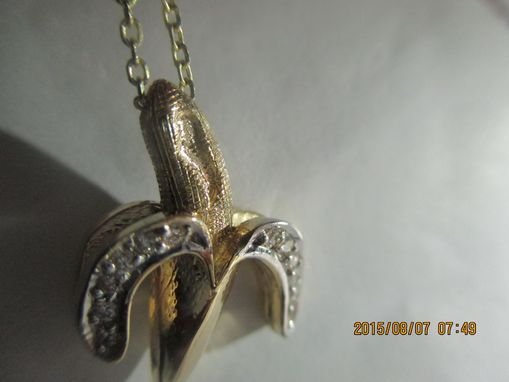 Custom Made Banana Pendant With Fine Diamonds In 14k With Hand Engraving