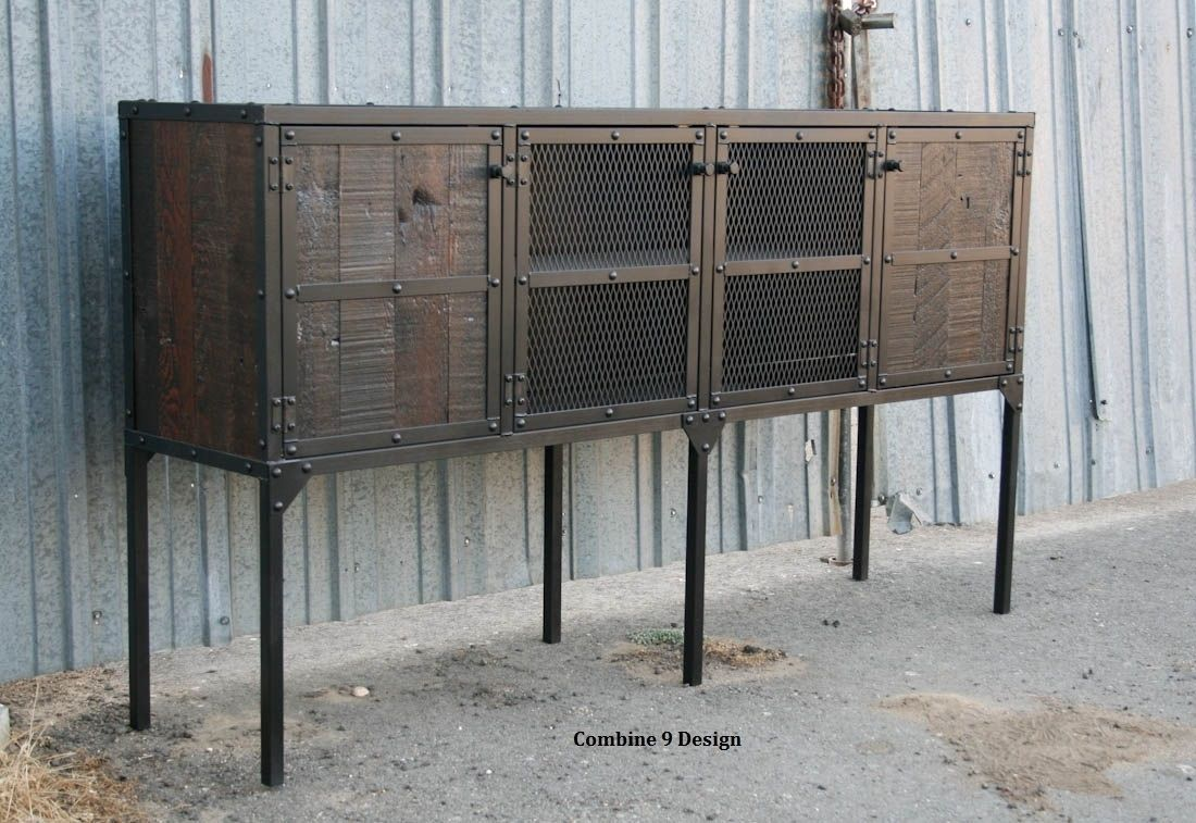 Custom Made Buffet Hutch Vintage Industrial Modern Distressed Reclaimed Wood Rustic