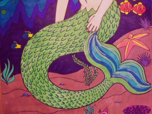 "Custom Made 25% Off: 16""X20"" Mermaid And Marine Life, Sharpie Poster, Original Artwork"