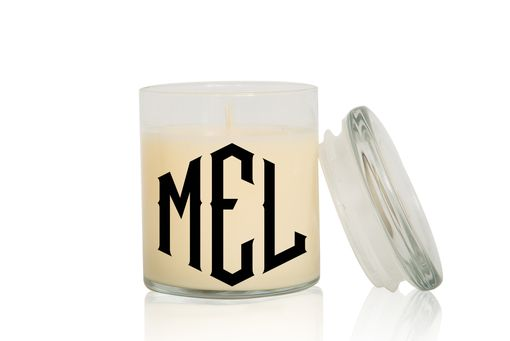 Custom Made Monogram Candle | Font: Diamond Ornate| Large Creme Brulee/Vanilla Scented Candle