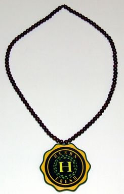 Custom Made Engraved And Painted Wood Pendant And Bead Necklace Of Logo