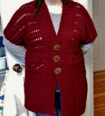 Custom Made Short-Sleeve Cardigan With Lace Detail