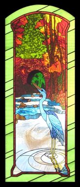 Custom Made Heron And Stone Bridge In Stained Glass
