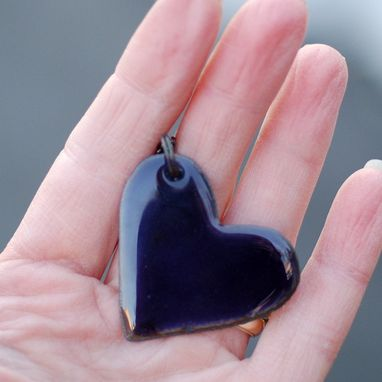 Custom Made Enamel Heart Pendant Necklace Copper Enameled Jewelry Purple