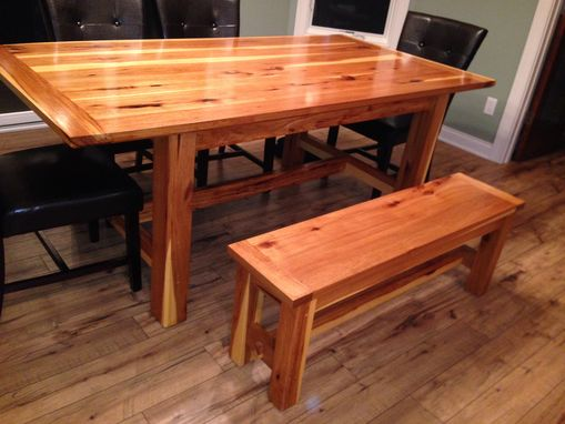 Custom Made Hickory Farm Table With Matching Bench