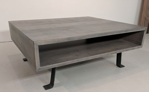 Custom Made Weathered Gray Coffee Table With Industrial Steel Legs