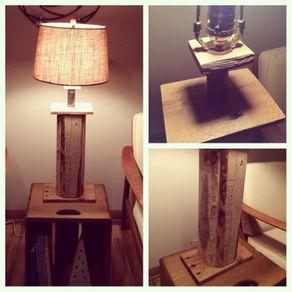 Buy A Custom Hand Made Wood Pallet Plank Art Sculpture Table Lamp