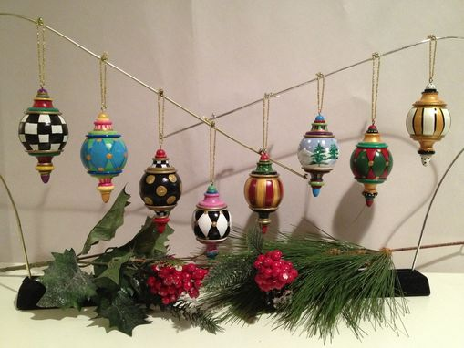 Custom Made Hand Painted Solid Wood Christmas Finial Ornaments -This Price Is For One (1) Ornament