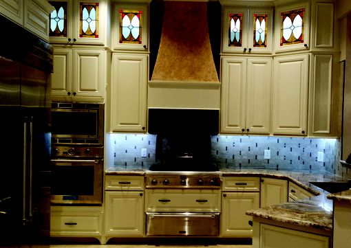 Custom Made Stained Glass Kitchen And Bathroom Cabinet Inserts