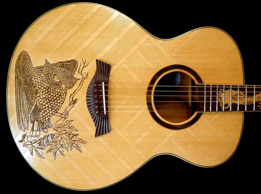 "Custom Made Blueberry ""Owl"" Motif Acoustic Guitar"