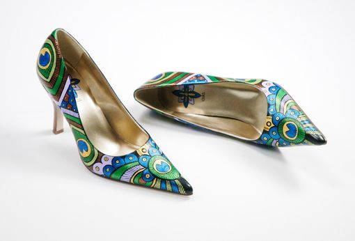Custom Made Hand Painted Shoes- Peacock Lady Pumps- Peacock Painted Heels
