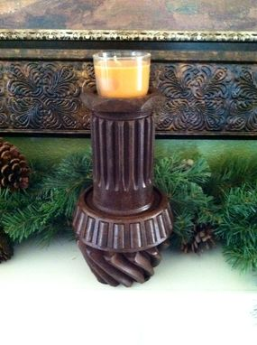 Custom Made Repurposed Old Gear, Rustic Candle Holder