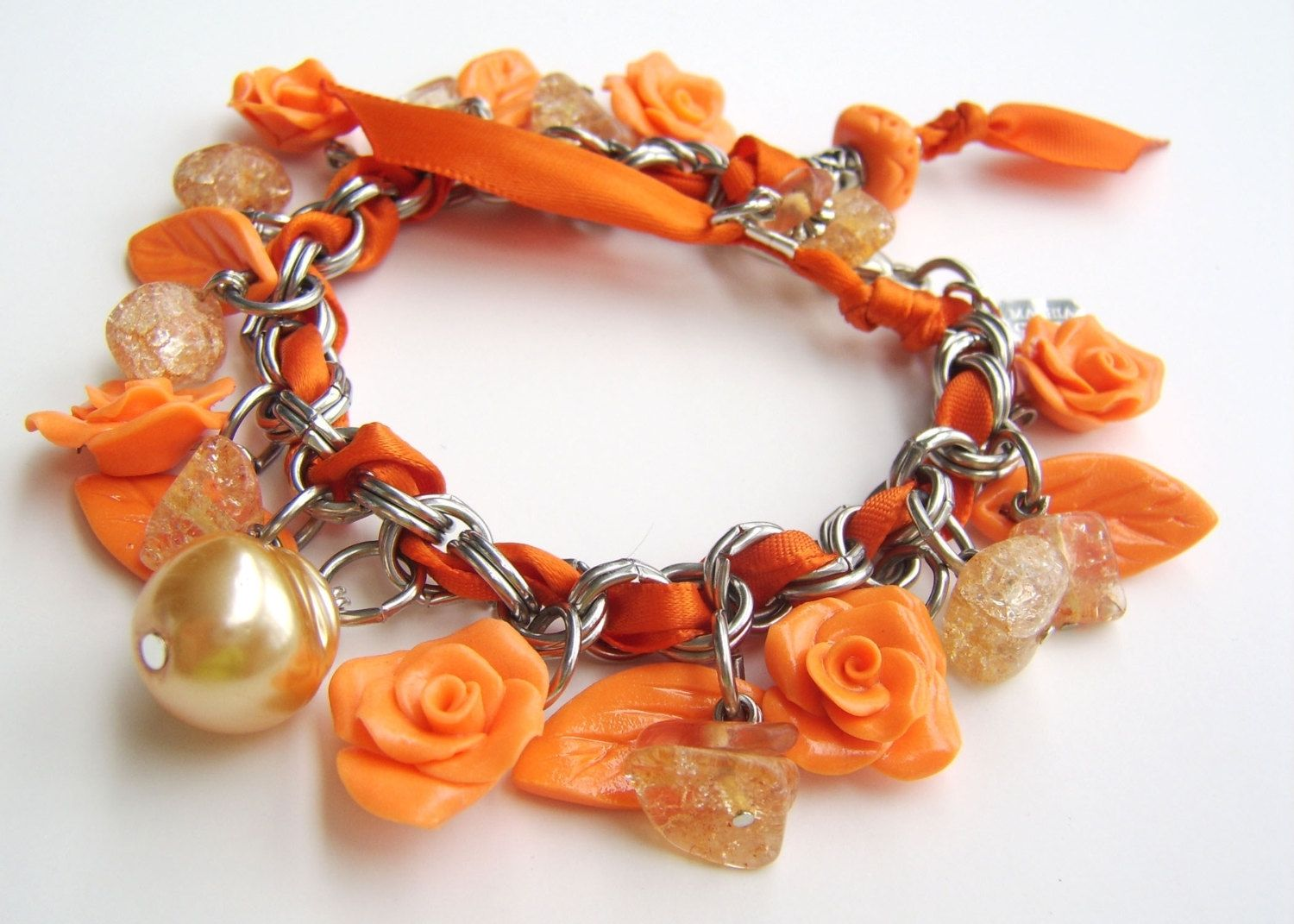 Custom Neon Orange Stainless Steel And Polymer Clay